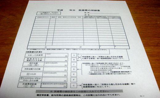 医療費の明細書